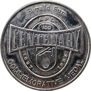 Token - Herald Sun AFL Centenary Medal (Melbourne F.C.) – obverse