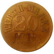 "20 Pfennig (Werth-Marke; Countermarked ""MV"") – obverse"