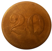 "20 Pfennig (Werth-Marke; Countermarked ""MV"") – reverse"