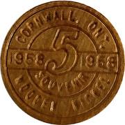 Souvenir Wooden Nickel - Cornwall (Inundation Days) – reverse
