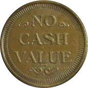 Token - No Cash Value (Eagle looking right; 22.7 mm; Brass) – reverse