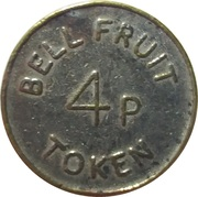 4 Pence - Bell Fruit Token (Nickel plated Brass) – obverse