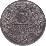 3 Reichsmark Rhineland (Miniature Coin) – reverse