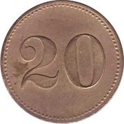 """20 Pfennig (Werth-Marke; Countermarked """"M"""") – reverse"""