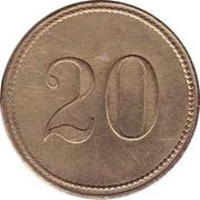 20 Pfennig (Wert-Marke; no line of dots) – reverse