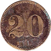 "20 Pfennig (Werth-Marke; 8-pointed star; Countermarked ""HL"") – obverse"