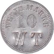 """10 Pfennig (Werth-Marke; Countermarked """"WT"""") – obverse"""