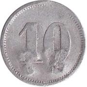 """10 Pfennig (Werth-Marke; Countermarked """"WT"""") – reverse"""