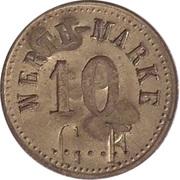 """10 Pfennig (Werth-Marke; Countermarked """"CF"""") – obverse"""