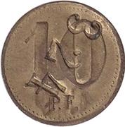 """10 Pfennig (Werth-Marke; Countermarked """"CF"""") – reverse"""