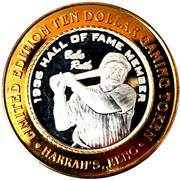 10 Dollar Gaming Token - Harrah's (Babe Ruth; Reno) – obverse