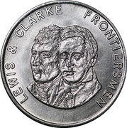 "Token - Shell Famous Americans Coin Game (Lewis and Clark; error ""Clarke"") – obverse"