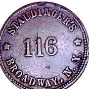 Token - Staudinger's (New York; 19 mm) – obverse