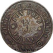 5 Francs - Mines de Gar-Rouban – reverse