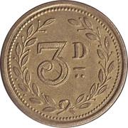 3 Pence  - Alfred Cockett (Wisbech) – reverse
