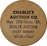 Wooden Nickel - Charlie's Auction Co. (Rome, Georgia) – obverse