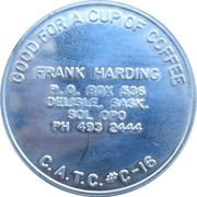 1 Cup Coffee - CNA 84 (Canadian Association of Token Collectors) – reverse