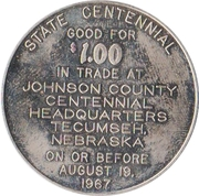1 Dollar - Nebraska Centennial (Johnson County) – reverse