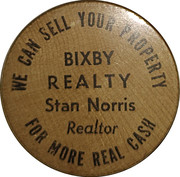 Wooden Nickel - Bixby Realty – obverse