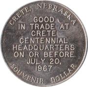 Souvenir Dollar - Nebraska Centennial (Saline County) -  reverse