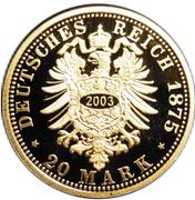 20 Mark - Albert (Saxony; Restrike) – reverse