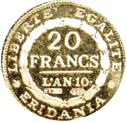 20 Francs - Piedmont (Mini Replica) – reverse