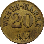 "20 Centimes (Werth-Marke; Countermarked ""AN""; Luxembourg) – obverse"