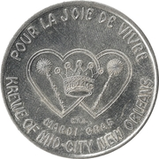 Mardi Gras Token - Krewe of Mid-City (A Lot of Spinning Going On; New Orleans, Louisiana) – reverse