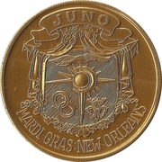 Mardi Gras Token - Juno (Our World and Welcome to It; New Orleans, Louisiana) – reverse