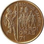 Mardi Gras Token - Bacchus (Bacchus Salutes; New Orleans, Louisiana) – obverse