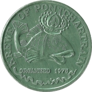 Mardi Gras Token - Krewe of Pontchartrain (Children's Fantasies; green) – reverse