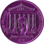 Mardi Gras Token - Krewe of Crescent City (James Gallier; purple; New Orleans, Louisiana) – obverse