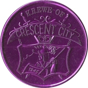 Mardi Gras Token - Krewe of Crescent City (James Gallier; purple; New Orleans, Louisiana) – reverse