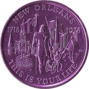 Mardi Gras Token - Krewe of Okeanos (This is Your Life; purple; New Orleans, Louisiana) – obverse