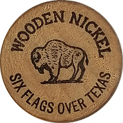 Wooden Nickel - Six Flags Over Texas – obverse