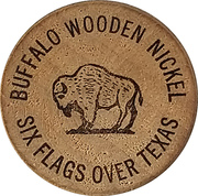 Wooden Nickel - Six Flags Over Texas – reverse