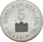 5 Cents - CoalRun Coal Company (Cunard, West Virginia) – obverse
