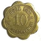 10 Cents - The Wilmot Mercantile Co. (Wilmot, South Dakota) – reverse