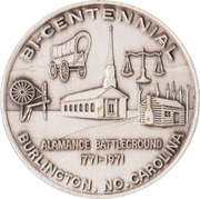 Token - Bicentennial Battle of Alamance (Burlington, North Carolina) – obverse