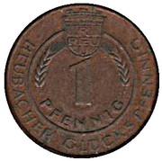 1 Pfennig - Heubacher Glückspfennig (Rosenstein Wandertag 1974) – reverse
