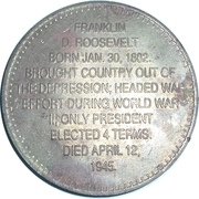 Token - Presidential Hall of Fame (Franklin D. Roosevelt) – reverse