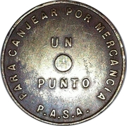 Token - 1 Punto (to exchange for merchandise) – reverse