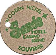 Wooden Nickel - Sands Hotel (Reno, Nevada) – reverse