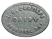 1 Pint Milk - L.E. Cardiff Dairy (Brussels, Ontario) – obverse