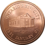 Token - Vaughan, Ontario (Ontario's 51st City) – reverse