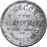 1 Pint - A. Secord Jersey farm (Hamilton, Ontario) – obverse