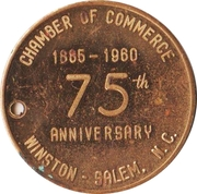 Medal - 75th Anniversary of the Chamber of Commerce (Winston-Salem, North Carolina) – obverse