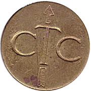 Telephone Token - CTC (arrow up; brass large type) – obverse