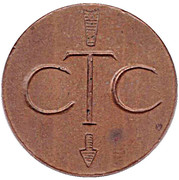 Telephone Token - CTC (arrow down; bronze large type) – obverse