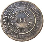 Phonograph Token - Kermesse Jean Jaurès – obverse